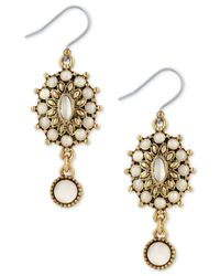 Lucky Brand - Metallic Squash Blossom Mother-of-pearl Drop Earrings - Lyst