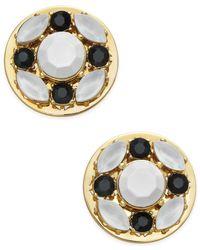 Kate Spade | Metallic Gold-tone Jet Pavé & White Stone Stud Earrings | Lyst