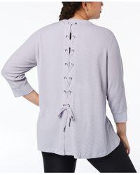 Calvin Klein - Purple Performance Plus Size Lace-up Back Top - Lyst