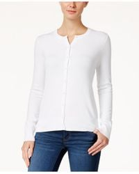 Charter Club | White Crew-neck Cardigan, Only At Macy's | Lyst