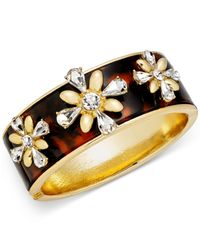 Charter Club | Metallic Gold-tone Crystal & Tortoise-look Flower Bangle Bracelet | Lyst