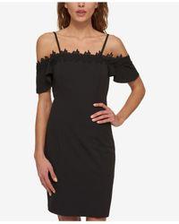 Jessica Simpson | Black Embroidered Cold-shoulder Dress | Lyst