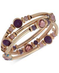 Nine West | Purple Gold-tone 3-pc. Set Stone & Crystal Bangle Bracelets | Lyst