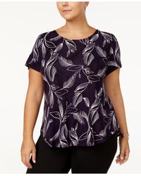 Alfani - Multicolor Plus Size Printed Short-sleeve Top - Lyst