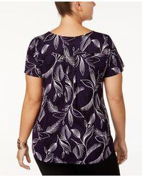 Alfani - Multicolor Plus Size Printed Short-sleeve Top - Lyst