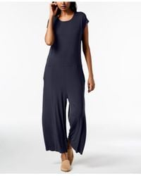 Eileen Fisher Blue Stretch Jersey Cropped Wide-leg Jumpsuit, Regular & Petite