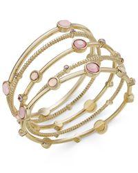 INC International Concepts | Metallic Gold-tone 5-pc. Set Pink Stone Bangle Bracelets, | Lyst