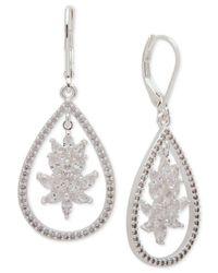 Anne Klein | Metallic Silver-tone Cubic Zirconia Drop Earrings | Lyst