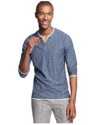 INC International Concepts Blue Popular Guy Long-sleeve Split-neck T-shirt for men