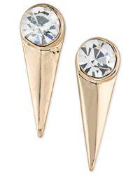 ABS By Allen Schwartz - Metallic Gold-tone Crystal Spike Drop Earrings - Lyst