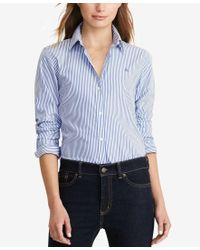 Lauren by Ralph Lauren   White Petite Wrinkle-resistant Pinstripe Shirt   Lyst