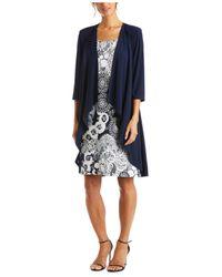 R & M Richards Blue Printed Dress & Jacket