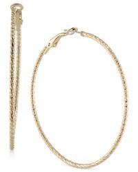 ABS By Allen Schwartz - Metallic Gold-tone Hoop Earrings - Lyst