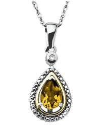 Macy's Metallic 14k Gold And Sterling Silver Necklace, Citrine (5/8 Ct. T.w.) And Diamond Accent Teardrop Pendant