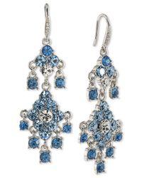 Carolee - Silver-tone Blue & Clear Crystal Chandelier Earrings - Lyst