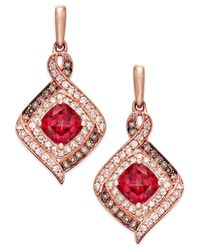 Macy's | Red Rhodolite Garnet (2 Ct. T.w.) And Diamond (3/8 Ct. T.w.) Drop Earrings In 14k Rose Gold | Lyst