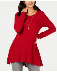 Style & Co. Red Ribbed High-low Tunic Top, Created For Macy
