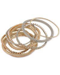 ABS By Allen Schwartz | Metallic Two-tone 10-pc. Set Crystal Stretch Bracelets | Lyst