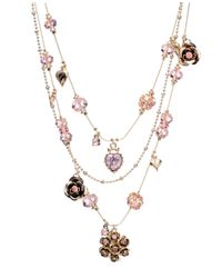 Betsey Johnson - Pink Crystal Illusion Necklace - Lyst