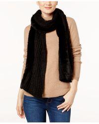DKNY - Black Faux Fur & Knit Scarf - Lyst