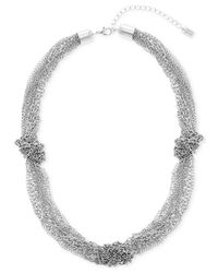 """Steve Madden - Metallic Silver-tone Knotted Multi-chain Necklace, 20"""" + 3"""" Extender - Lyst"""