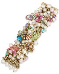 Betsey Johnson - Metallic Gold-tone Stone, Crystal & Imitation Pearl Floral Statement Bracelet - Lyst