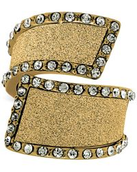 Guess - Metallic Gold-tone Crystal & Glitter Bypass Ring - Lyst