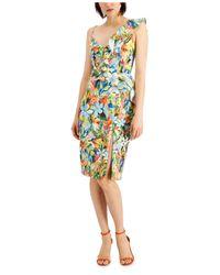 Aidan By Aidan Mattox Multicolor Ruffled One-shoulder Dress