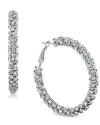 INC International Concepts - Metallic Silver-tone Crystal Hoop Earrings - Lyst
