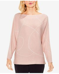 Vince Camuto Pink Boat-neck Dolman-sleeve Sweater