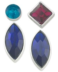 ABS By Allen Schwartz - Blue Silver-tone 4-pc. Mix-and-match Earring Set - Lyst