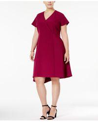 Anne Klein Synthetic Plus Size Asymmetrical Hem Fit