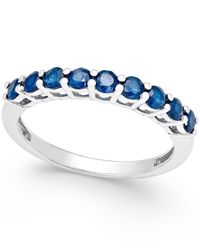 Macy's - Blue Sapphire Thin Band (5/8 Ct. T.w.) In Sterling Silver - Lyst