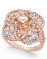 Macy's Metallic Synthetic Morganite & Cubic Zirconia Filigree Floral Ring In 14k Rose Gold-plated Sterling Silver