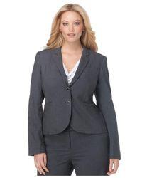 Calvin Klein Gray Plus Size Jacket, Notched Collar Welt Pocket