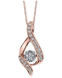 Macy's - Metallic Diamond Pendant Necklace (3/8 Ct. T.w.) In 14k Rose Gold - Lyst