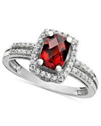 Macy's | Metallic 14k White Gold Ring, Garnet (1-1/10 Ct. T.w.) And Diamond (1/6 Ct. T.w.) Rectangle | Lyst