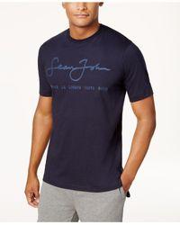 Sean John - Blue Script Logo T-shirt, Created For Macy's for Men - Lyst