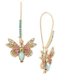 Betsey Johnson - Metallic Gold-tone Multi-crystal Butterfly Drop Earrings - Lyst