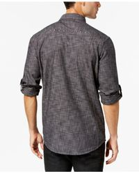 INC International Concepts - Black Men's Studded Chambray Shirt for Men - Lyst