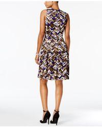 Nine West - Multicolor Printed Scuba Fit & Flare Dress - Lyst