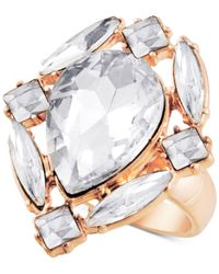 Guess - Metallic Gold-tone Crystal Cluster Statement Ring - Lyst
