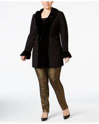 INC International Concepts - Black Plus Size Velvet Ruffle Coat - Lyst