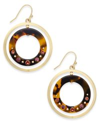 Kate Spade | Metallic Out Of Her Shell Gold-tone Tortoiseshell-look Orbital Earrings | Lyst
