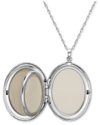 Macy's Metallic Sterling Silver Necklace, Four Photo Engraved Locket