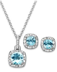 Macy's | Metallic Sterling Silver Earrings And Necklace Set, Blue Topaz (3-1/10 Ct. T.w.) And Diamond Accent | Lyst