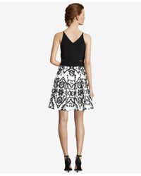 Xscape Black Illusion-inset Embellished Fit & Flare Dress