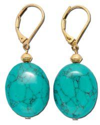 Lauren by Ralph Lauren | Blue Gold-tone Stone Drop Earrings | Lyst