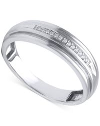 Beautiful Beginnings | Metallic Men's Diamond Accent Band In 14k White Gold for Men | Lyst