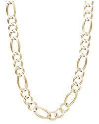 Macy's | Metallic Men's Figaro Chain Bracelet In 10k Gold for Men | Lyst